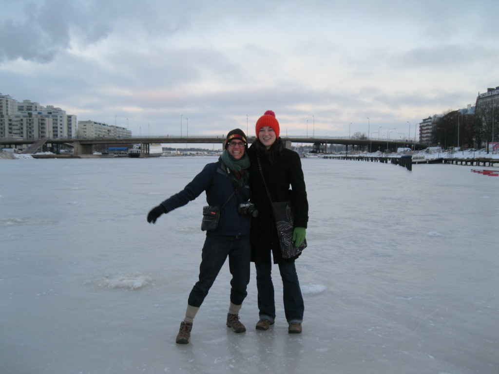 Mags and Rae Ellen on a frozen Helsinki river