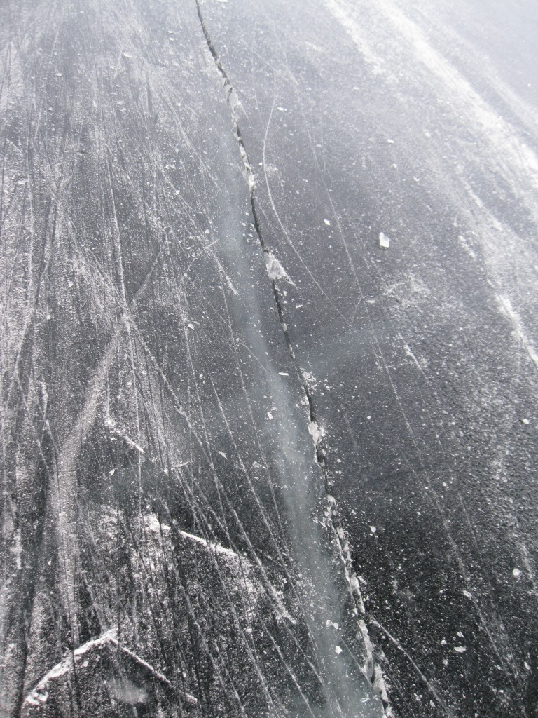 See-through ice crack